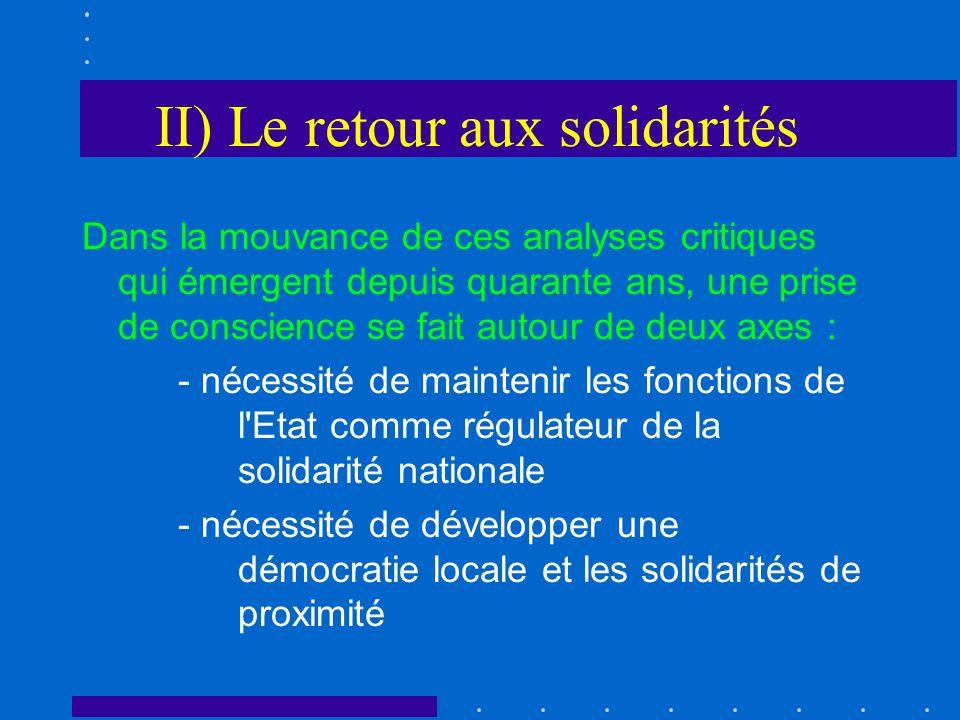 II) Le retour aux solidarités