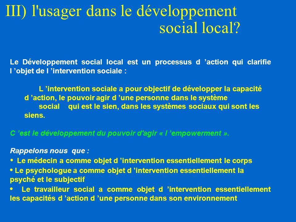 III) l usager dans le développement social local