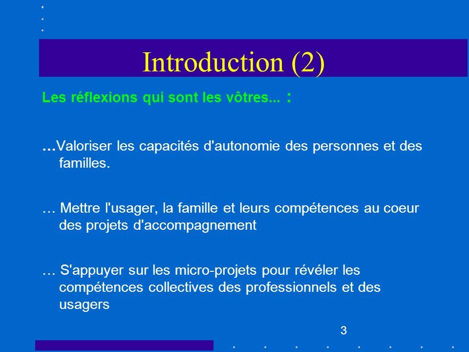 Introduction (2) Les réflexions qui sont les vôtres... :