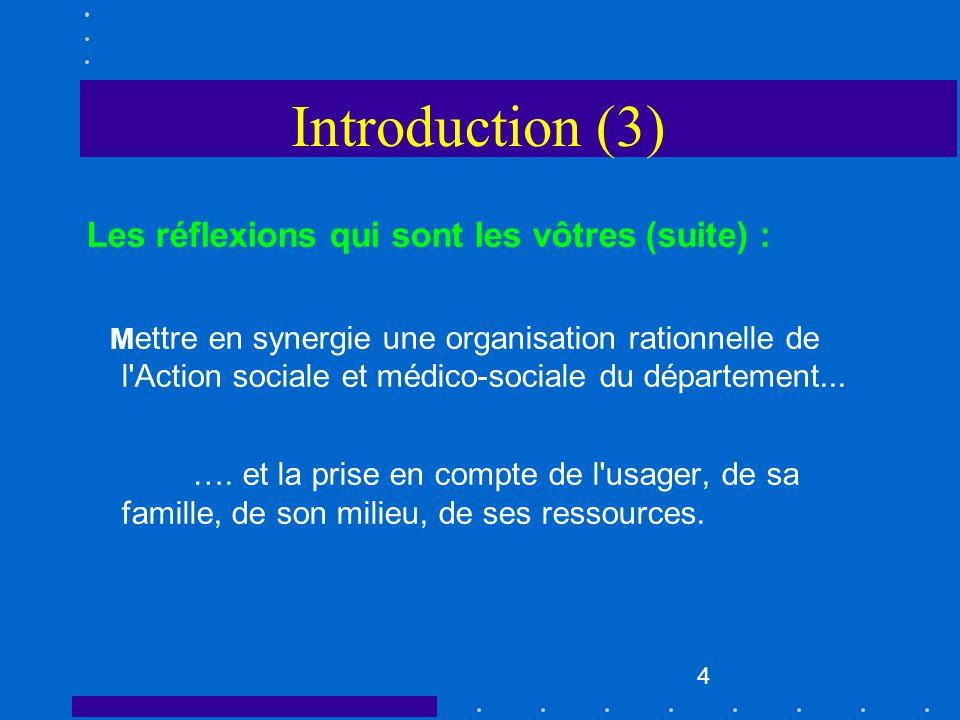 Introduction (3) Les réflexions qui sont les vôtres (suite) :