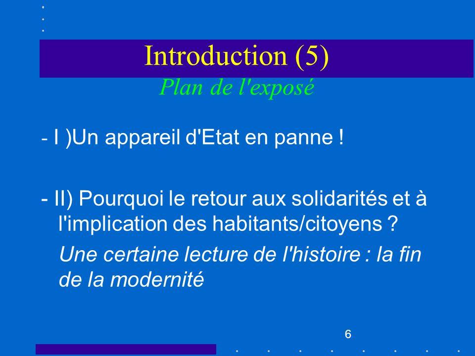 Introduction (5) Plan de l exposé