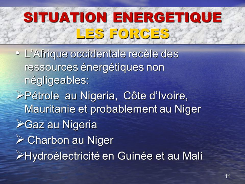 SITUATION ENERGETIQUE LES FORCES