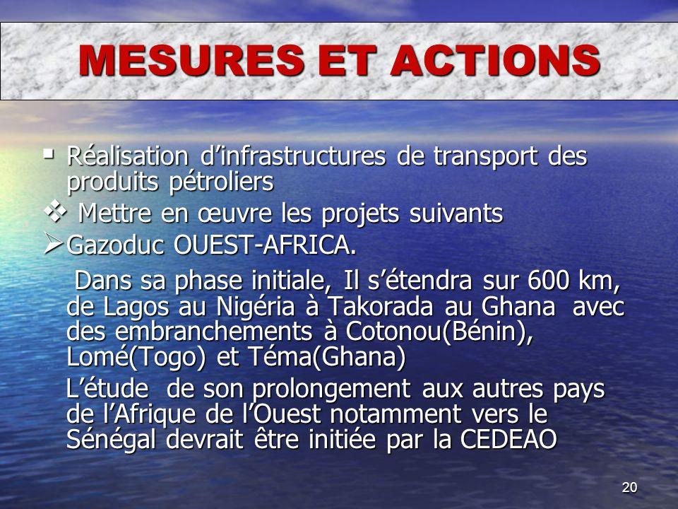 MESURES ET ACTIONS Réalisation d'infrastructures de transport des produits pétroliers. Mettre en œuvre les projets suivants.