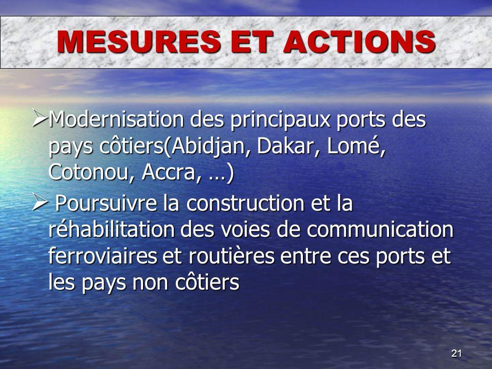 MESURES ET ACTIONS Modernisation des principaux ports des pays côtiers(Abidjan, Dakar, Lomé, Cotonou, Accra, …)