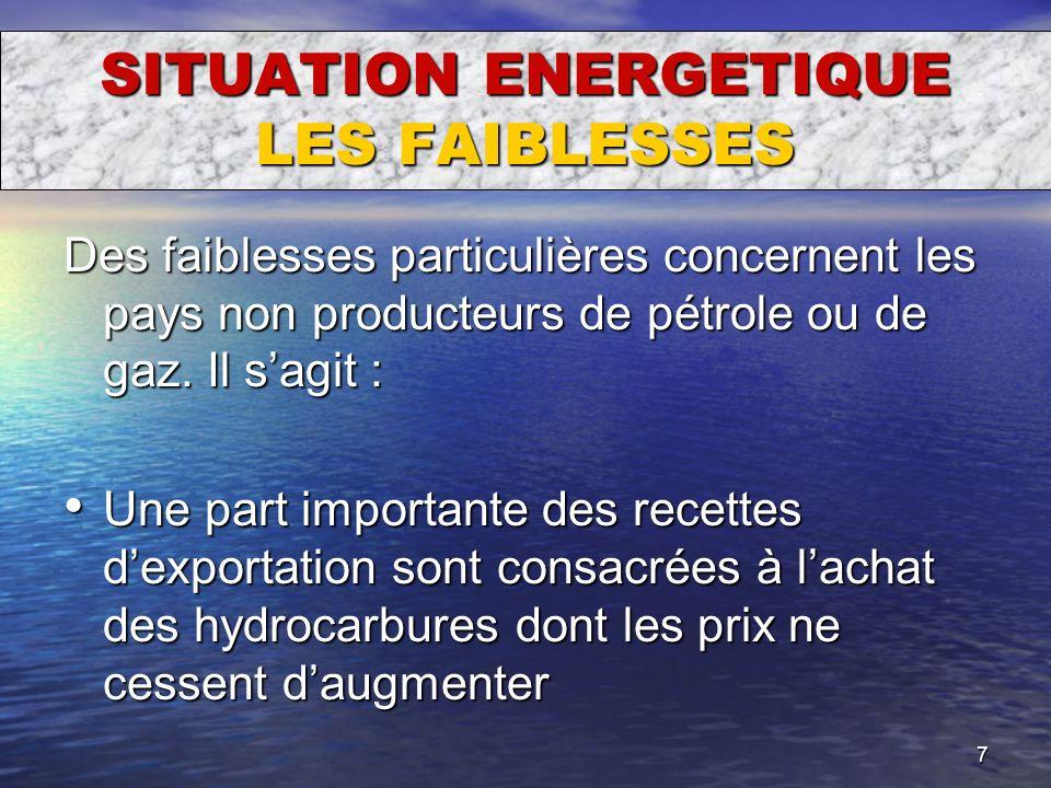 SITUATION ENERGETIQUE LES FAIBLESSES