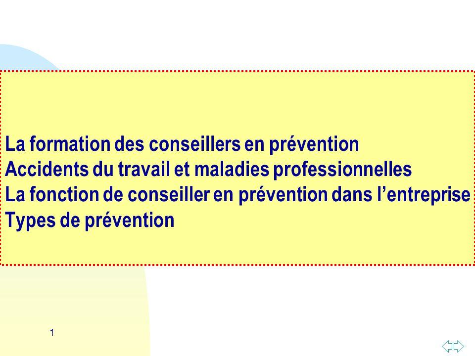 La formation des conseillers en prévention Accidents du travail et maladies professionnelles La fonction de conseiller en prévention dans l'entreprise Types de prévention