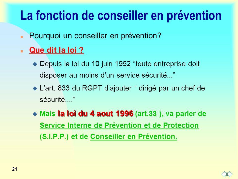 La fonction de conseiller en prévention
