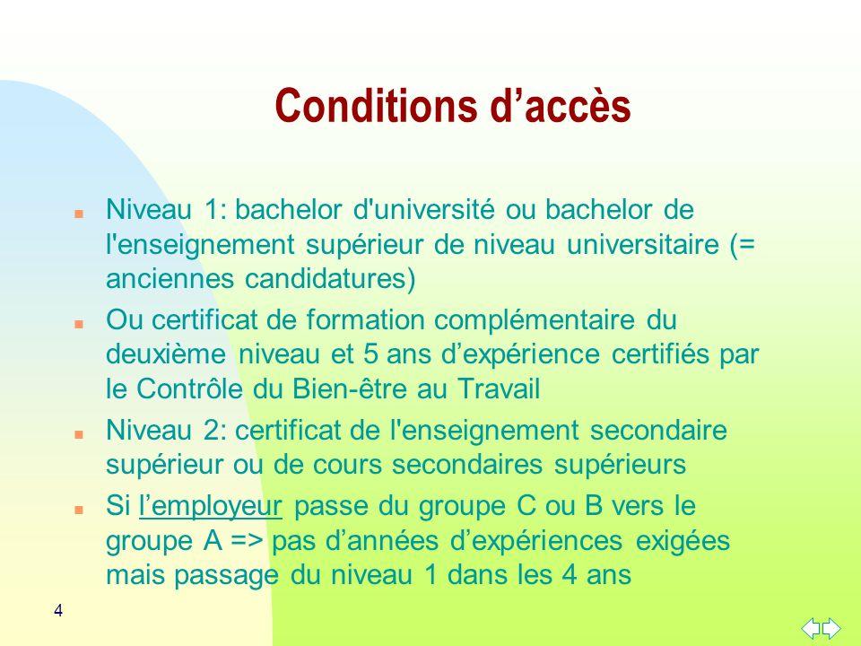 Conditions d'accès Niveau 1: bachelor d université ou bachelor de l enseignement supérieur de niveau universitaire (= anciennes candidatures)