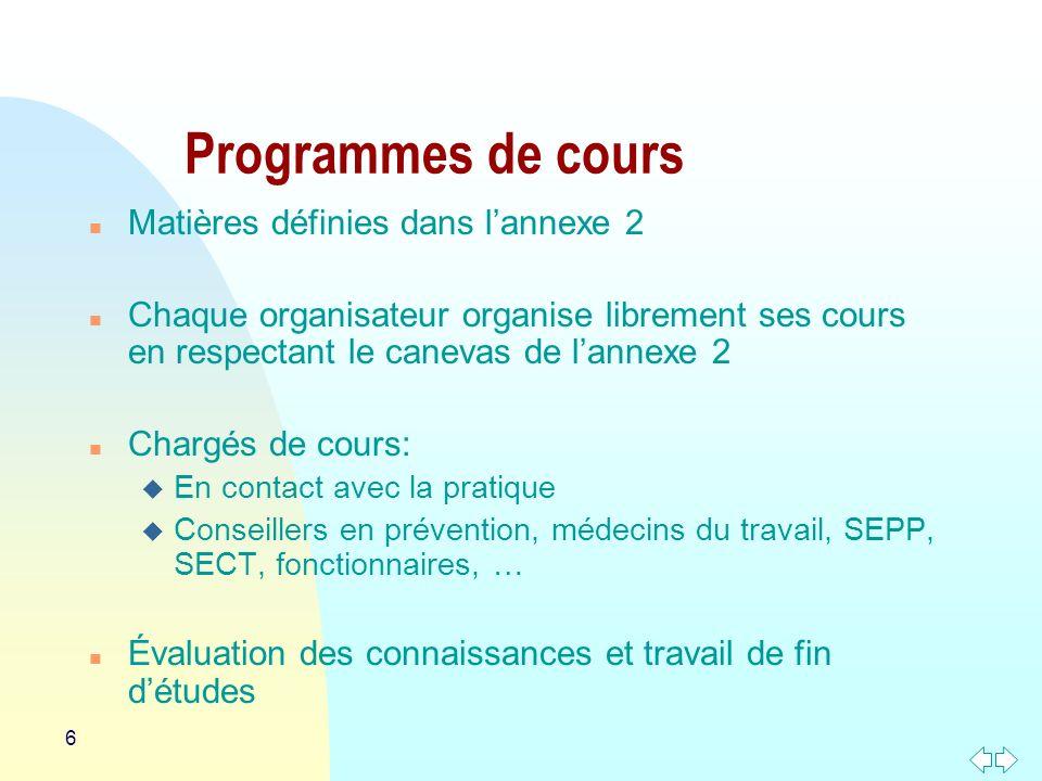 Programmes de cours Matières définies dans l'annexe 2