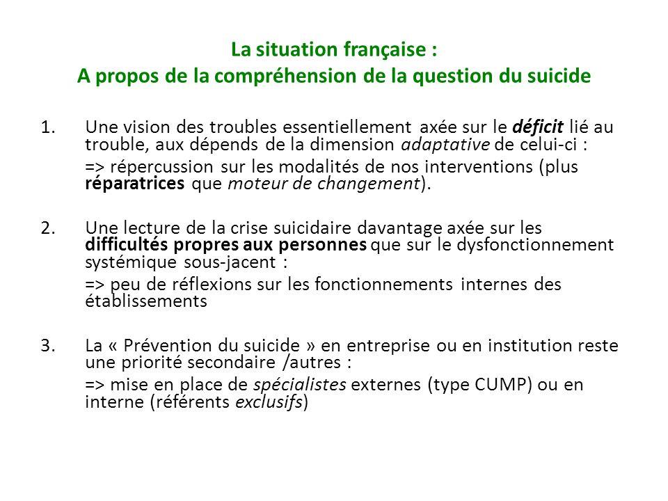 La situation française : A propos de la compréhension de la question du suicide