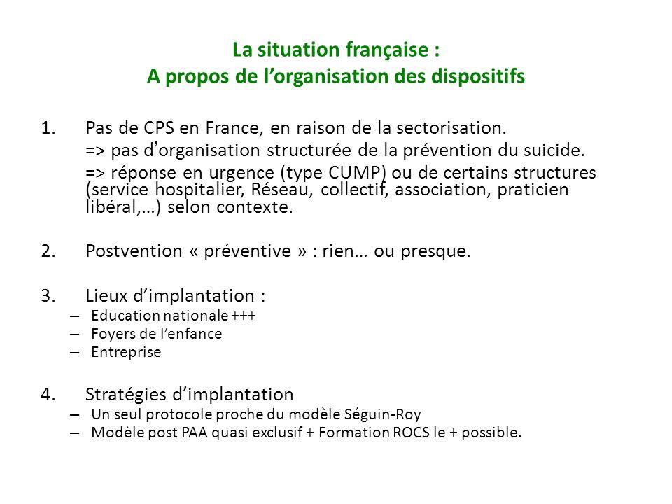 La situation française : A propos de l'organisation des dispositifs