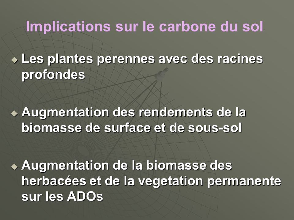 Implications sur le carbone du sol