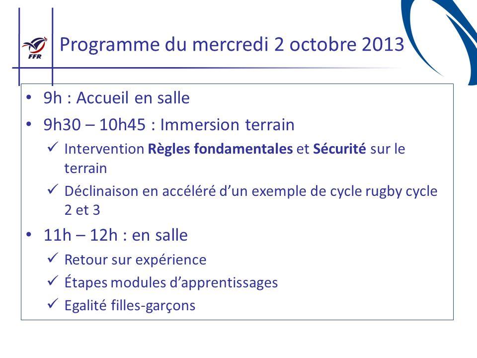 Programme du mercredi 2 octobre 2013