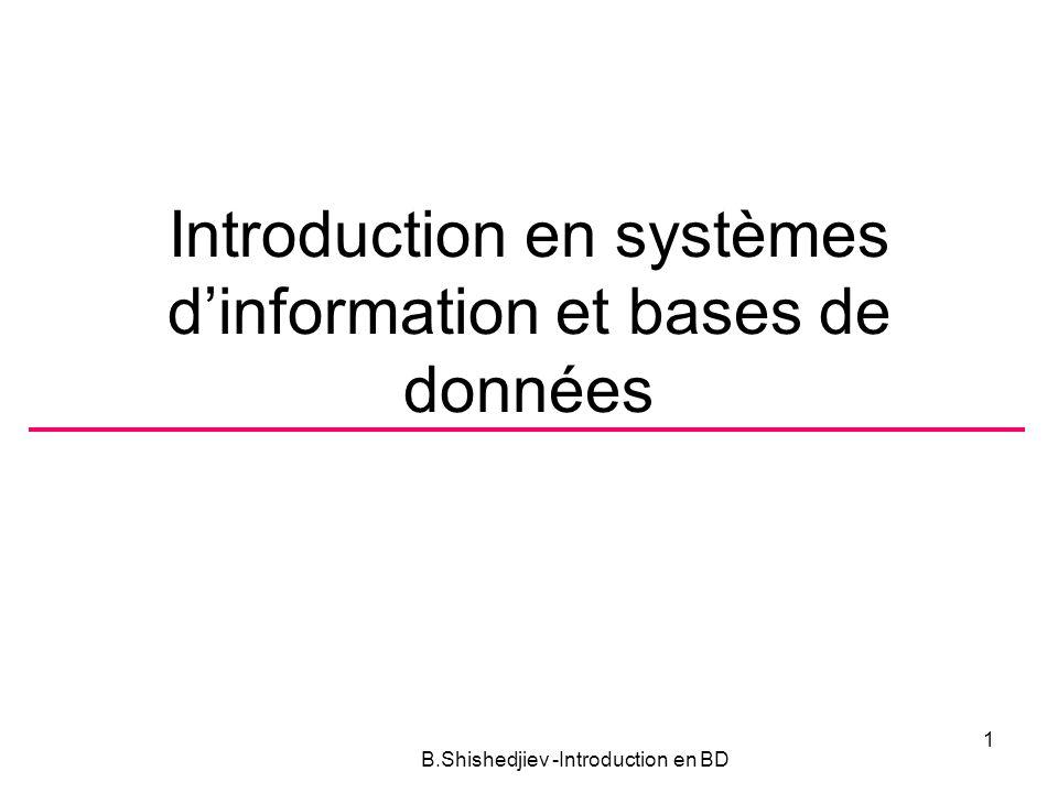 Introduction en systèmes d'information et bases de données