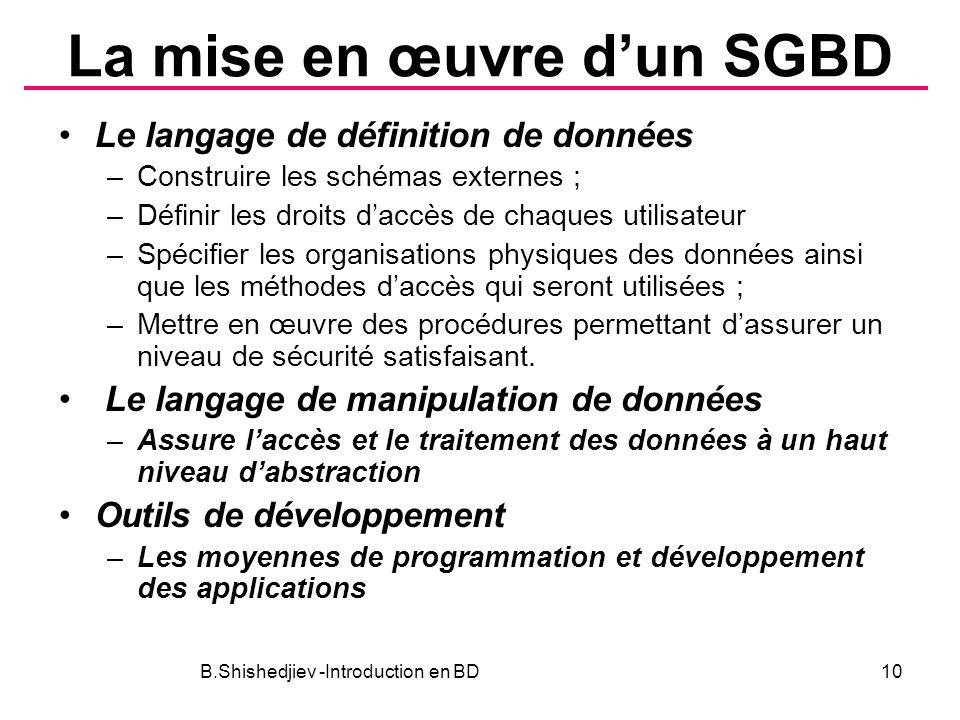 La mise en œuvre d'un SGBD