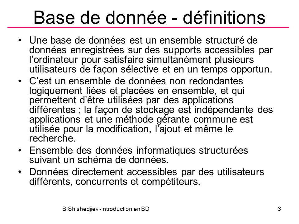 Base de donnée - définitions