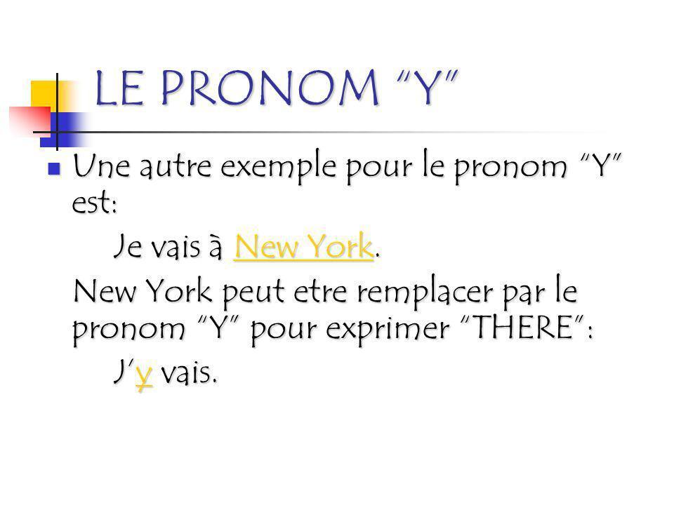 LE PRONOM Y Une autre exemple pour le pronom Y est: