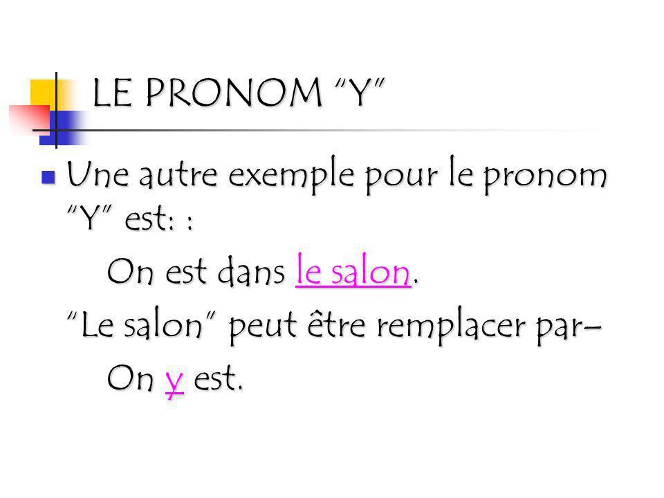 LE PRONOM Y Une autre exemple pour le pronom Y est: :
