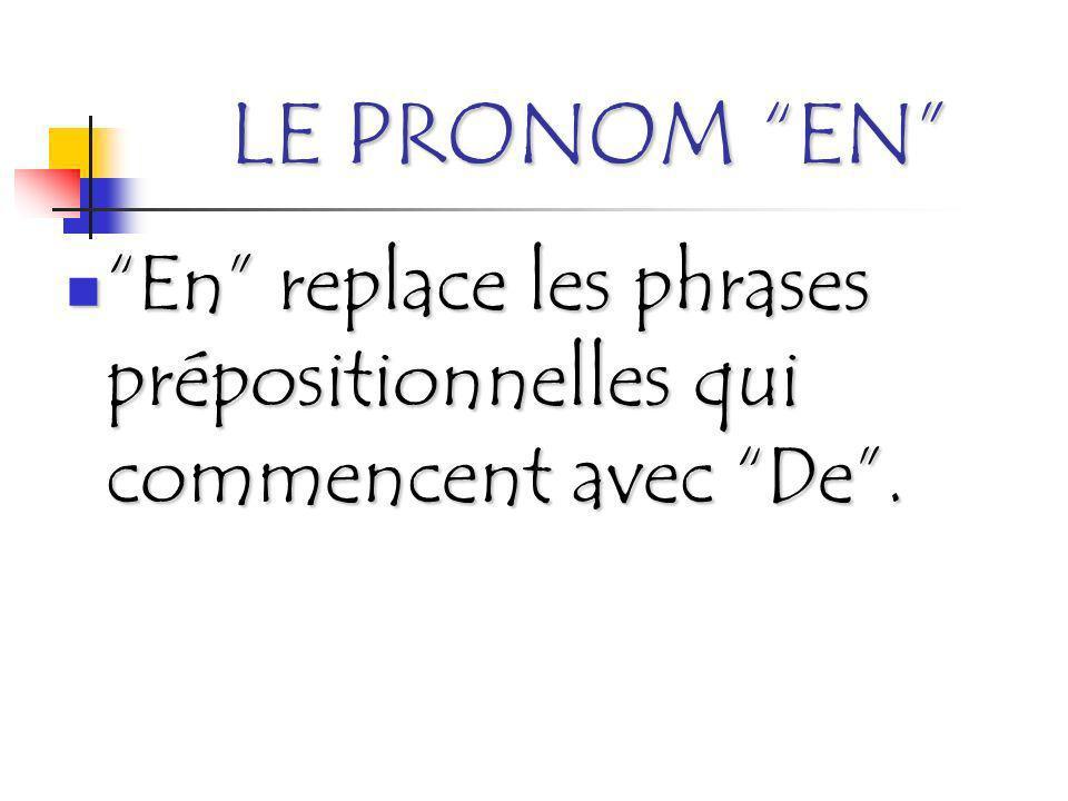 LE PRONOM EN En replace les phrases prépositionnelles qui commencent avec De .
