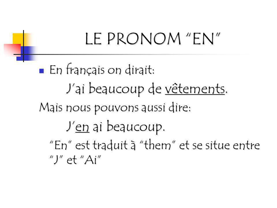 LE PRONOM EN En français on dirait: J'ai beaucoup de vêtements.