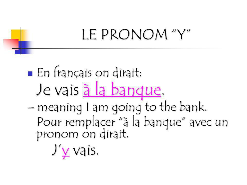 LE PRONOM Y En français on dirait: Je vais à la banque.