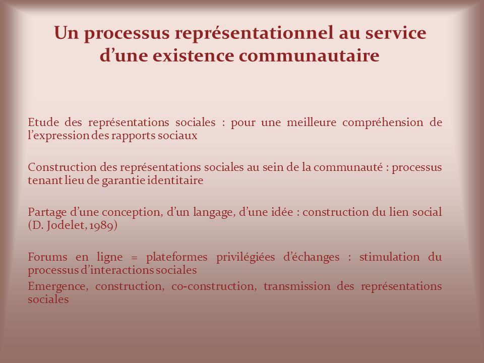 Un processus représentationnel au service d'une existence communautaire