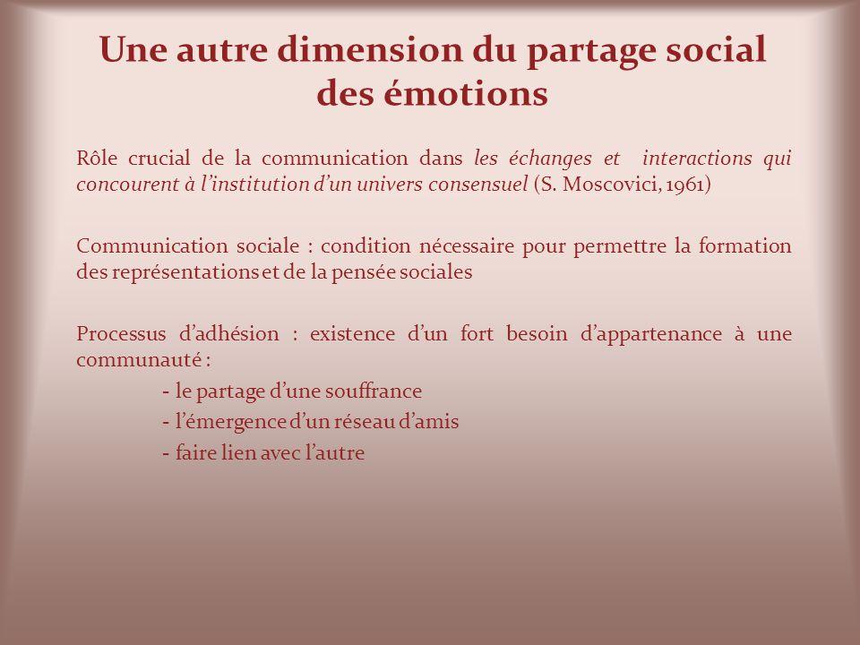 Une autre dimension du partage social des émotions