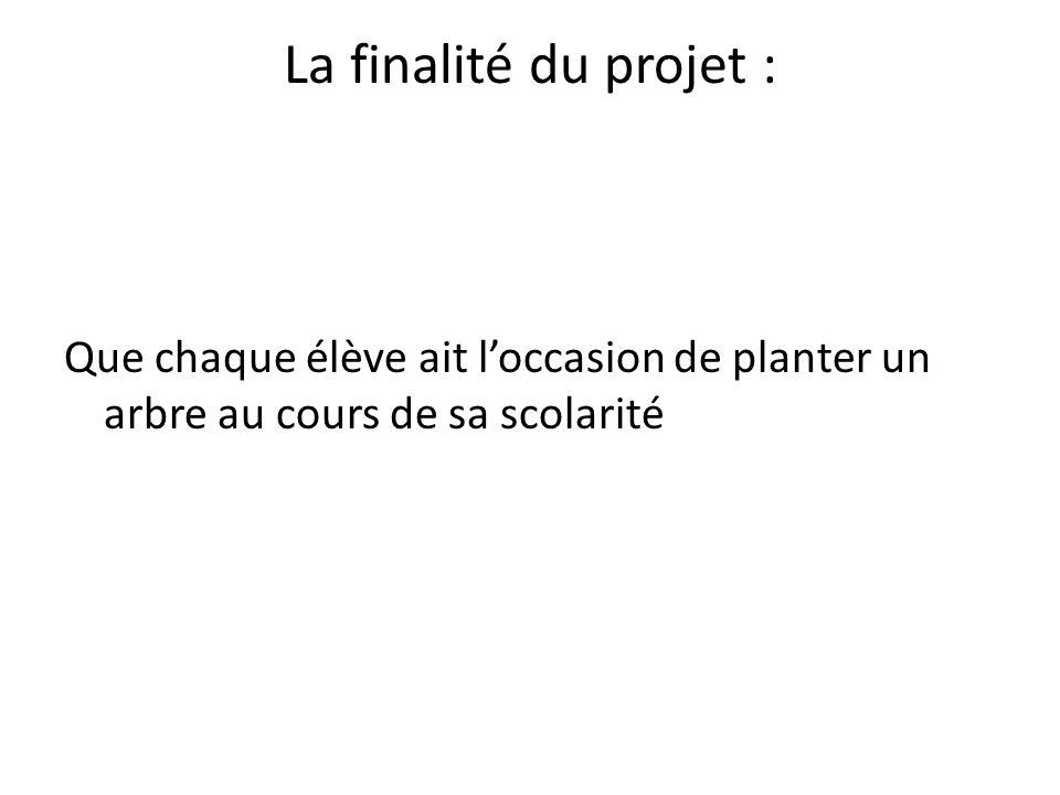 La finalité du projet : Que chaque élève ait l'occasion de planter un arbre au cours de sa scolarité.