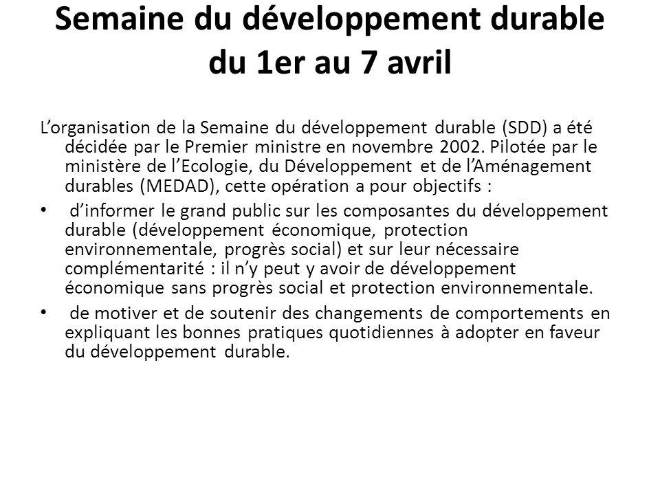 Semaine du développement durable du 1er au 7 avril