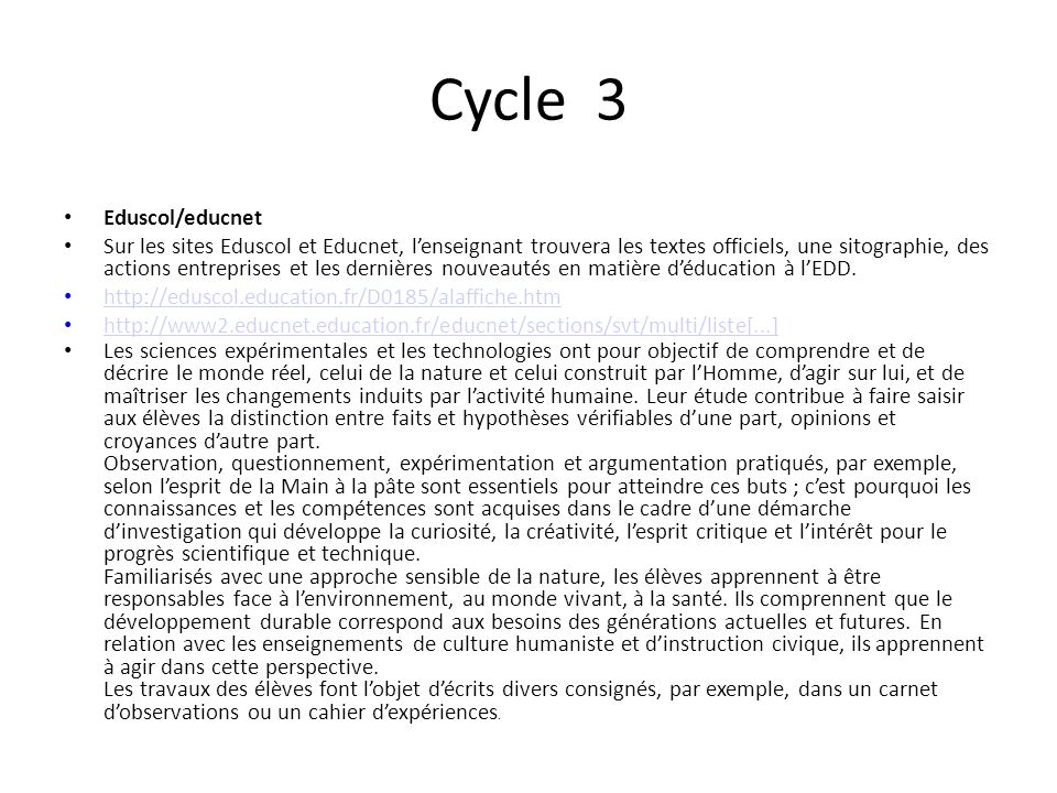 Cycle 3 Eduscol/educnet