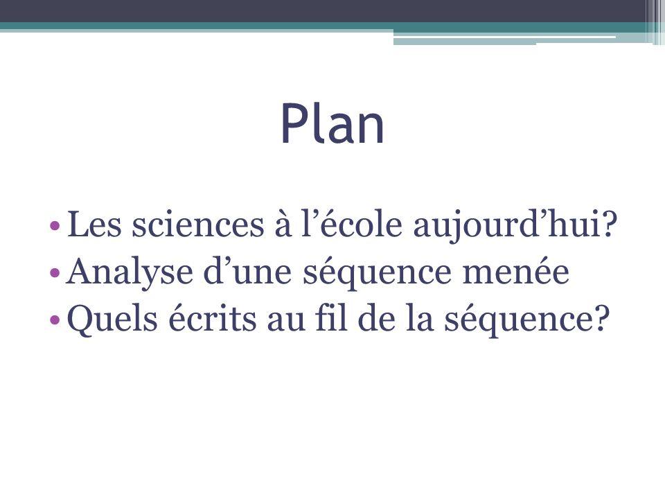 Plan Les sciences à l'école aujourd'hui Analyse d'une séquence menée