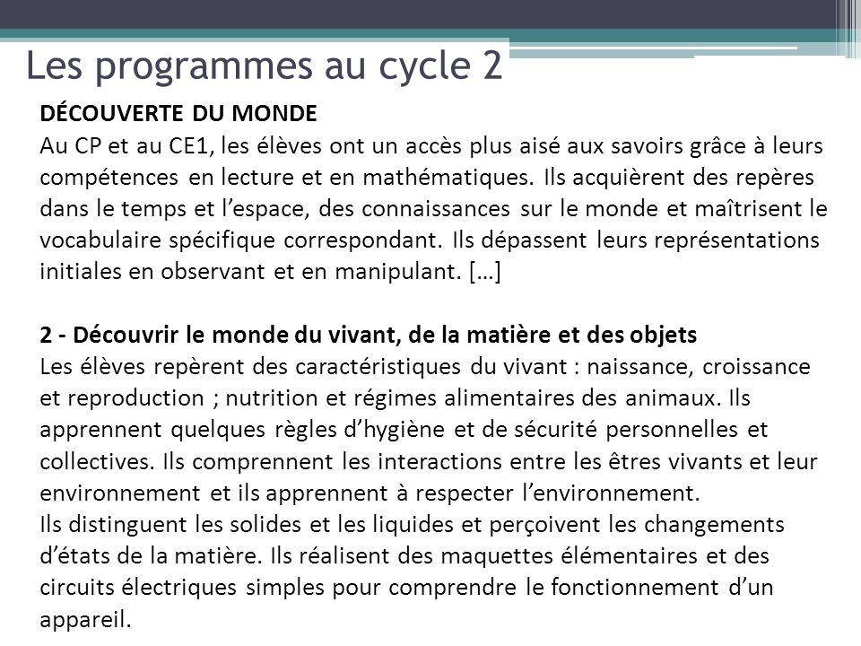 Les programmes au cycle 2