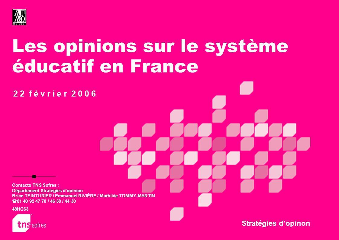 Les opinions sur le système éducatif en France