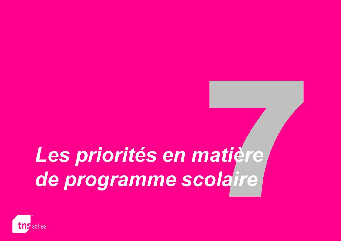 7 Les priorités en matière de programme scolaire