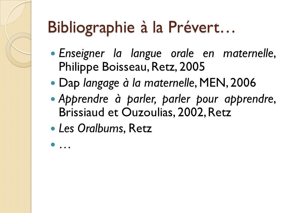 Bibliographie à la Prévert…