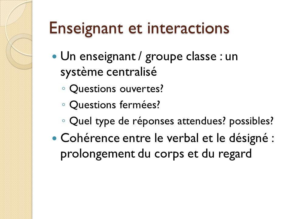 Enseignant et interactions