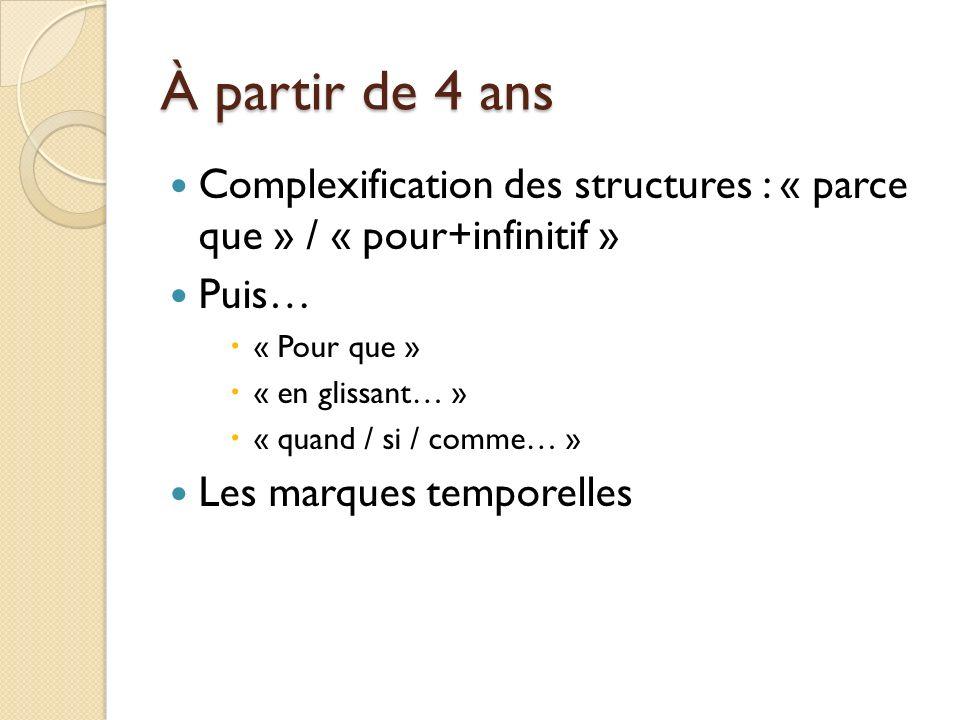 À partir de 4 ans Complexification des structures : « parce que » / « pour+infinitif » Puis… « Pour que »