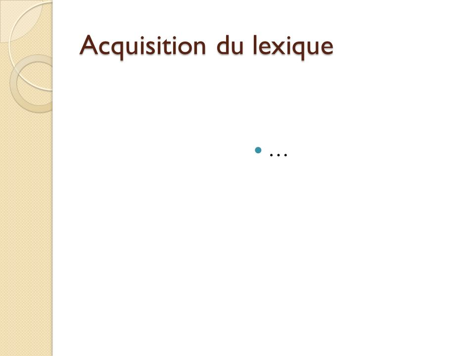 Acquisition du lexique