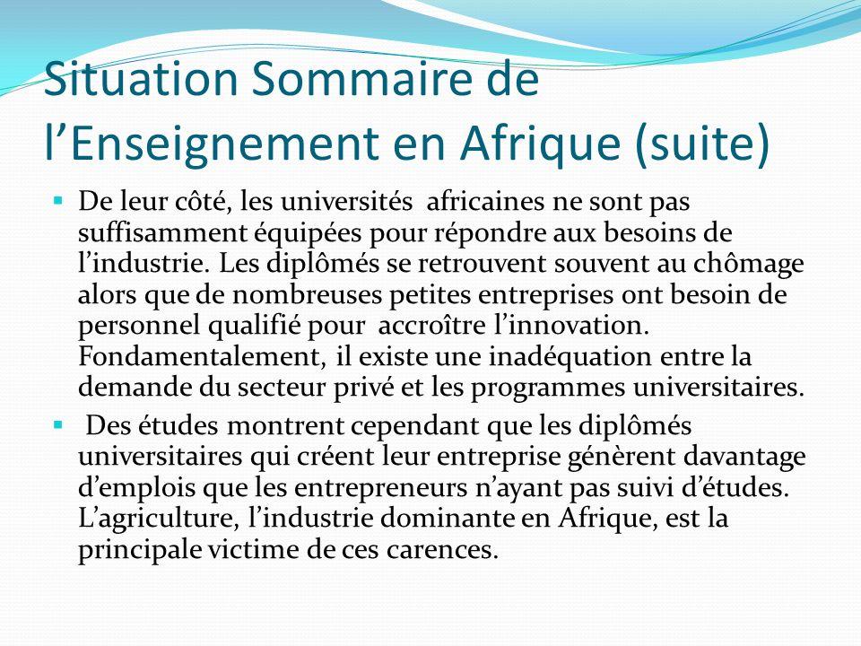 Situation Sommaire de l'Enseignement en Afrique (suite)
