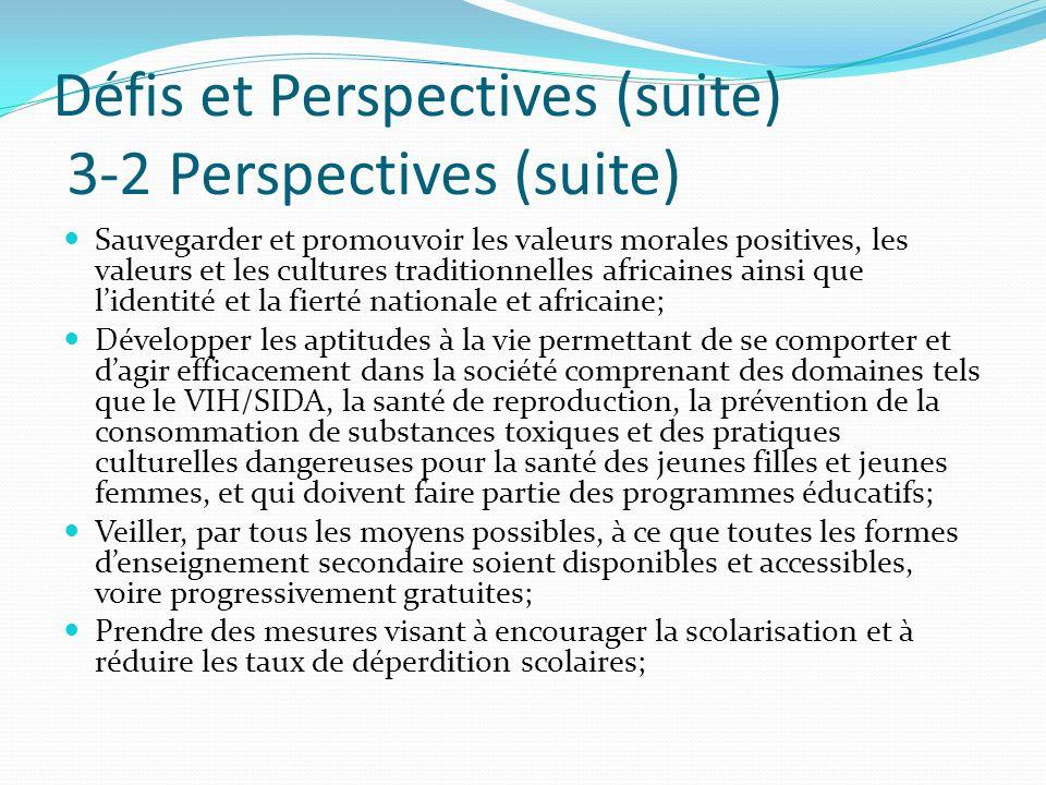 Défis et Perspectives (suite) 3-2 Perspectives (suite)