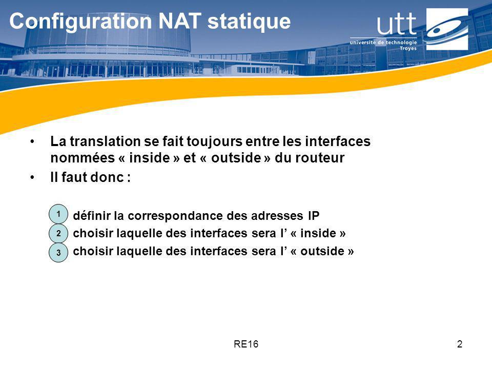 Configuration NAT statique