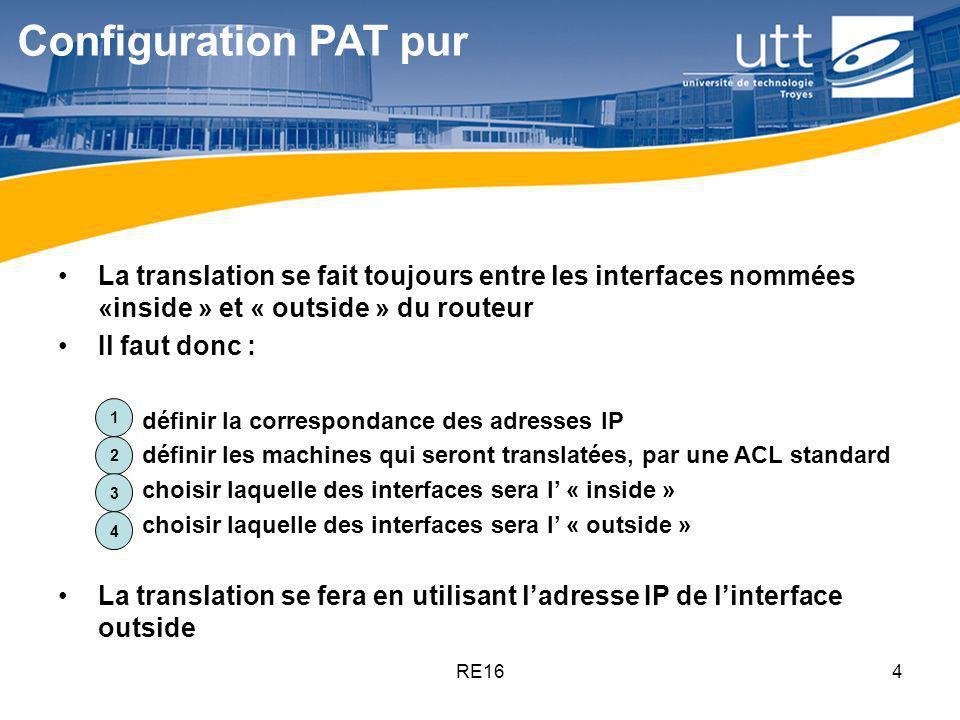 Configuration PAT pur La translation se fait toujours entre les interfaces nommées «inside » et « outside » du routeur.