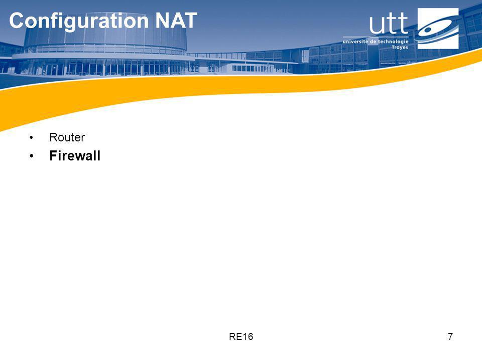 Configuration NAT Router Firewall RE16