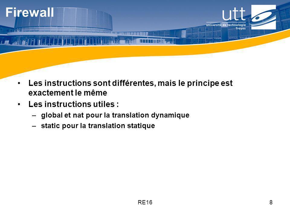 Firewall Les instructions sont différentes, mais le principe est exactement le même. Les instructions utiles :