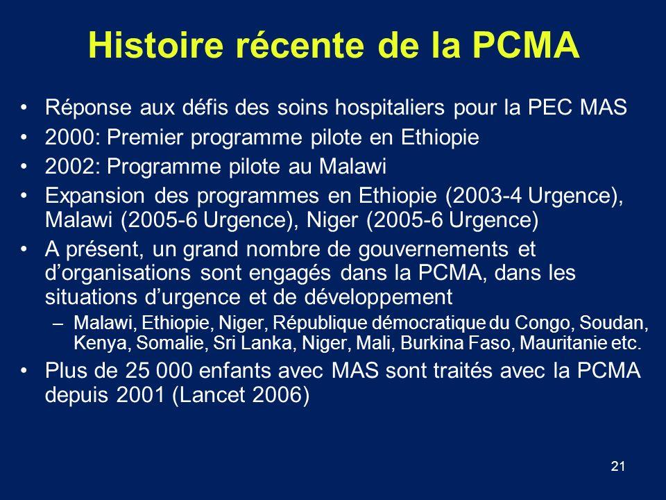 Histoire récente de la PCMA