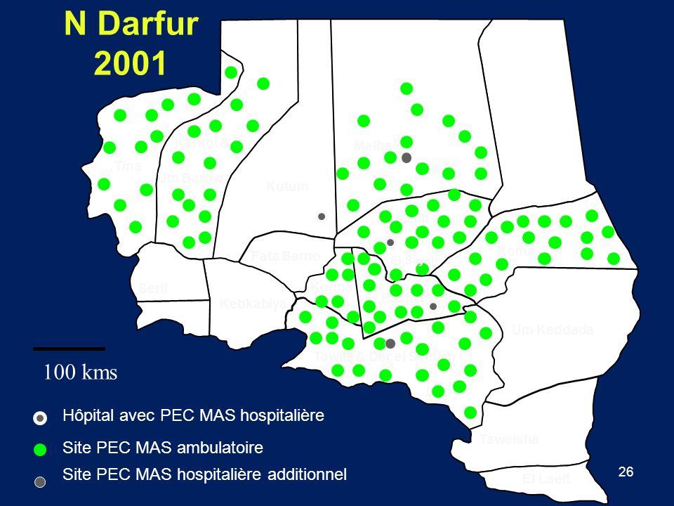 N Darfur 2001 100 kms Hôpital avec PEC MAS hospitalière
