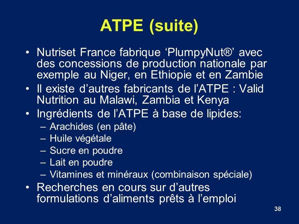 ATPE (suite) Nutriset France fabrique 'PlumpyNut®' avec des concessions de production nationale par exemple au Niger, en Ethiopie et en Zambie.