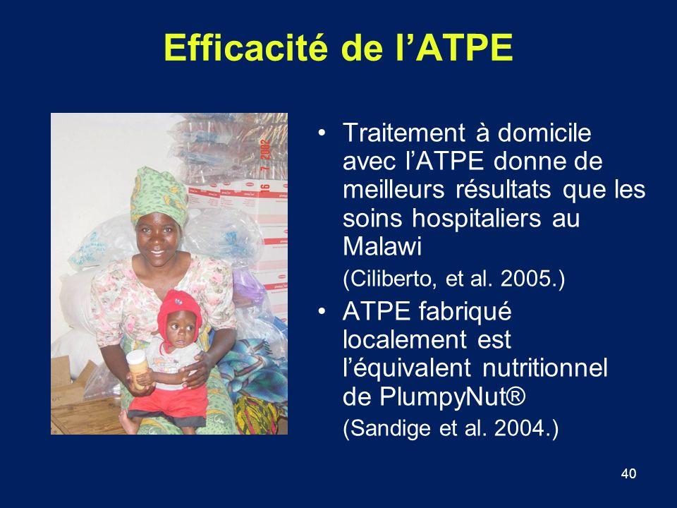 Efficacité de l'ATPE Traitement à domicile avec l'ATPE donne de meilleurs résultats que les soins hospitaliers au Malawi.