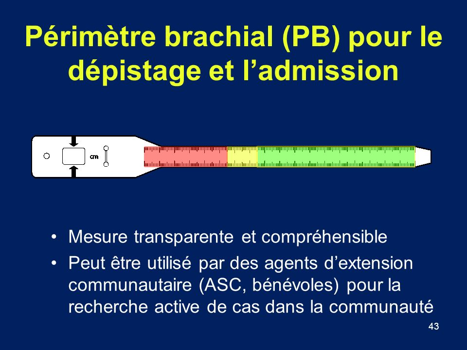 Périmètre brachial (PB) pour le dépistage et l'admission
