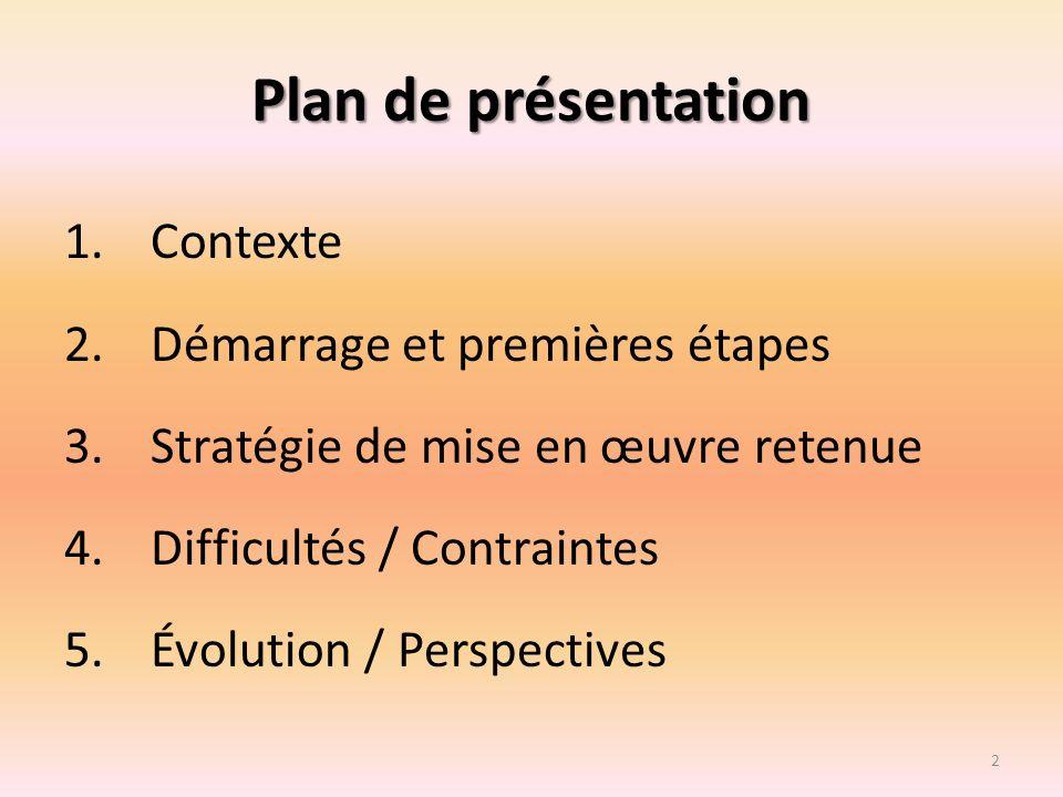 Plan de présentation Contexte Démarrage et premières étapes